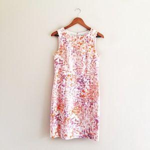 Ann Taylor Sheath Dress Petite Pink Orange Purple